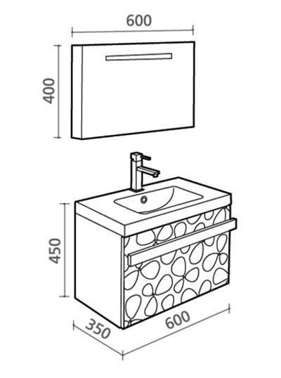 Technische Zeichnung der Badmöbel