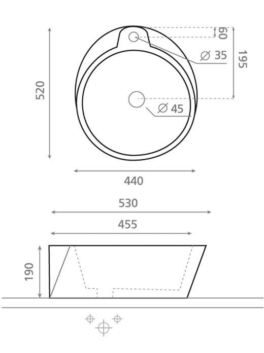 Technische Zeichnung des Waschbeckens - Aufsatzwaschbecken BOMBAY 0035
