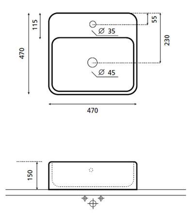 Technische Zeichnung des Waschbeckens - Aufsatzwaschbecken OROTAVA 0064
