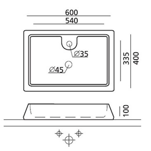 Technische Zeichnung des Waschbeckens - Aufsatzwaschbecken GALICIA 4004
