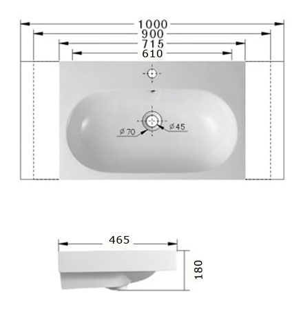 Technische Zeichnung des Waschbeckens - 60cm Einbauwaschbecken Waschbecken rechteckig mit Überlauf EWK-088