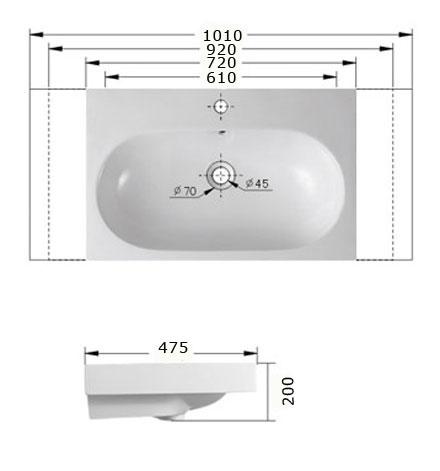 Technische Zeichnung des Waschbeckens - 90cm Einbauwaschbecken Waschbecken rechteckig mit Überlauf EWK-086