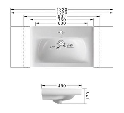 Technische Zeichnung des Waschbeckens - 760mm / 76cm Einbauwaschbecken Waschbecken rechteckig mit Überlauf EWK-368