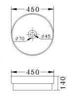 Technische Zeichnung des Waschbeckens - 45cm Einbauwaschbecken Waschbecken rund ohne Überlauf EWK-1047B