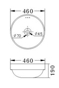Technische Zeichnung des Waschbeckens - 46cm Einbauwaschbecken Waschbecken rund mit Überlauf EWK-1229