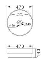Technische Zeichnung des Waschbeckens - 47cm Einbauwaschbecken Waschbecken rund mit Überlauf EWK-1047A