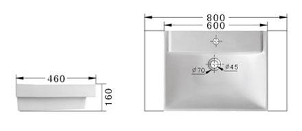 Technische Zeichnung des Waschbeckens - 60cm Einbauwaschbecken Waschbecken rechteckig mit Überlauf EWK-1237-6