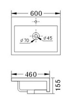 Technische Zeichnung des Waschbeckens - 60cm Einbauwaschbecken Waschbecken rechteckig mit Überlauf EWK-226