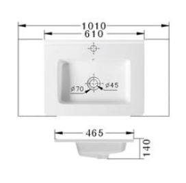 Technische Zeichnung des Waschbeckens - 61cm Einbauwaschbecken Waschbecken rechteckig mit Überlauf EWK-600E