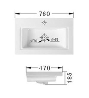Technische Zeichnung des Waschbeckens - 76cm Einbauwaschbecken Waschbecken rechteckig mit Überlauf EWK-750A