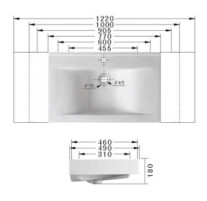 Technische Zeichnung des Waschbeckens - 90cm Einbauwaschbecken Waschbecken rechteckig mit Überlauf EWK-228