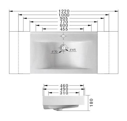 Technische Zeichnung des Waschbeckens - 60cm Einbauwaschbecken Waschbecken rechteckig mit Überlauf EWK-258