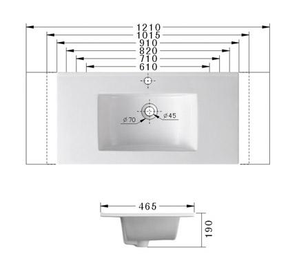 Technische Zeichnung des Waschbeckens - 91cm Einbauwaschbecken Waschbecken rechteckig mit Überlauf EWK-900D