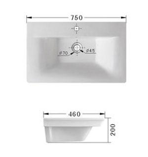 einbauwaschbecken 75 cm waschtisch handwaschbecken. Black Bedroom Furniture Sets. Home Design Ideas