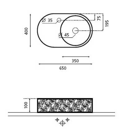 Technische Zeichnung des Waschbeckens - 65cm Dekor Aufsatzwaschbecken MARBELLA 0065D