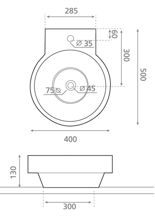 Technische Zeichnung des Waschbeckens -Aufsatzwaschbecken MARSELLA 4036