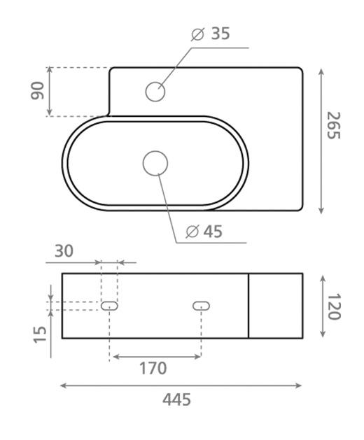 Technische Zeichnung des Waschbeckens - Aufsatzwaschbecken KABUTO 4051