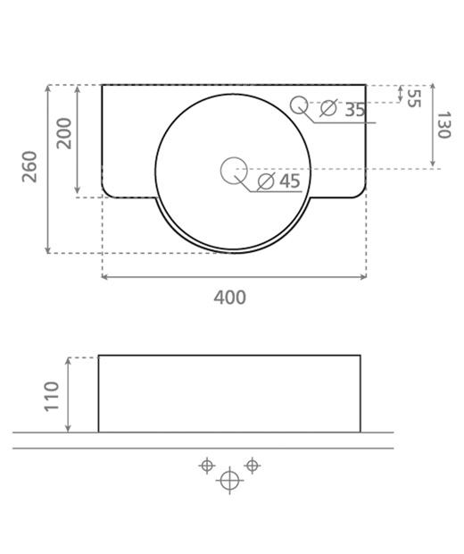 Technische Zeichnung des Waschbeckens - 40cm Aufsatzwaschbecken Waschbecken VENECIA 40  4052