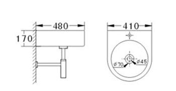 Technische Zeichnung des Waschbeckens - 41cm Waschbecken zur Wandmontage abgerundet mit Überlauf WWK-1020