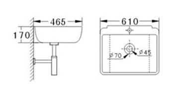 Technische Zeichnung des Waschbeckens - 60cm Waschbecken zur Wandmontage rechteckig ohne Überlauf WWK-1226