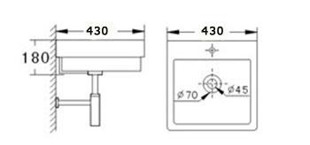 Technische Zeichnung des Waschbeckens - 42cm Waschbecken zur Wandmontage quadratisch / rechteckig mit Überlauf WWK-1028A