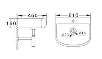 Technische Zeichnung des Waschbeckens - 60cm Waschbecken zur Wandmontage abgerundet mit Überlauf WWK-1075